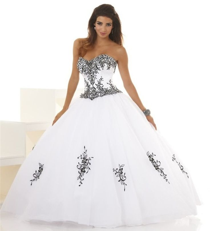 Find More Quinceanera Dresses Information about White and Black Quinceanera Dresses 2016 Ball Gown With Appliques Strapless 15 Years Prom Debutante Gown Sweet 16 Dresses QA879,High Quality gown wedding,China gown Suppliers, Cheap gown material from Julia wedding dress co., LTD on Aliexpress.com