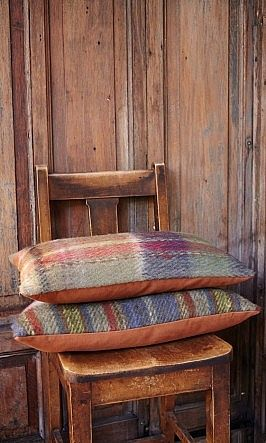 check out the pillows, how to use the old wool blankets and bits of velvet I find at the thrift shops...