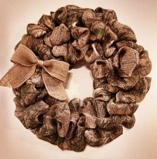 Camo burlap Christmas wreath