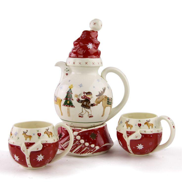 Christmas tea set navidad pinterest teteras vajilla - Vajilla de navidad ...