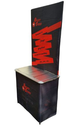 The PORTABLE DEMO STAND, made entirely from aluminium for strength and light weight, is ideal for in-store and mall promotions. It has a backdrop frame and wraparound skirt providing an unbelievably large branding area, yet packs into a small carry bag measuring 83cm x 20cm x 20cm. With a total weight of only 3.8kg, the DEMO STAND can be comfortably carried and erected by one person. Assembled dimensions are 820(l) x 460(w) x 760(h) with the backdrop measuring 820mm x 1100mm.