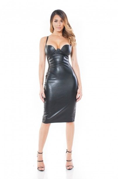 192609ea63 Ardell Black Leather Bustier Dress