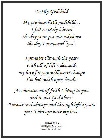Godmother To Goddaughter Poems Godchild Poem Frame