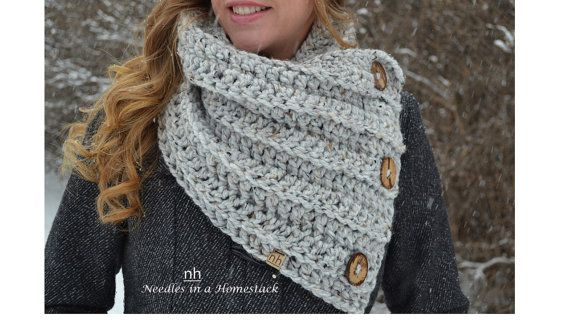 Hey, I found this really awesome Etsy listing at https://www.etsy.com/ca/listing/257726221/3-button-chunky-cowl-wrap-crochet-scarf