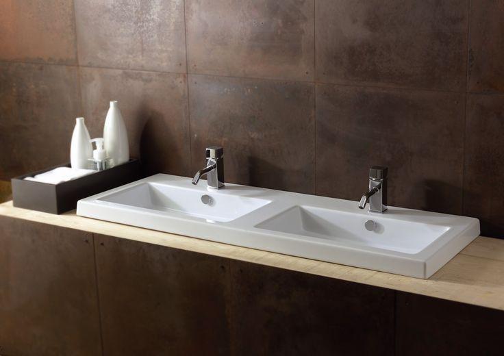 Ceramica Tecla Cangas Ceramic Double Bathroom Sink with Overflow