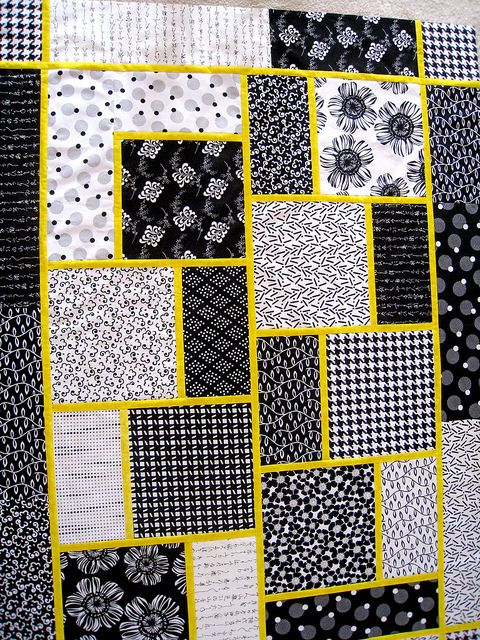 """""""The Big Block Quilt"""", pattern by Minay Sirois from Black Cat. [I wouldn't have thought I'd like Black & White with a Yellow accent so much, but it's great with this pattern!]"""