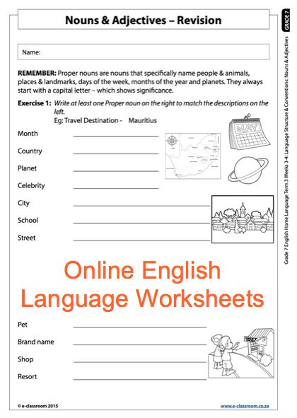 Grade 7 Online English Language Worksheets, Nouns and Adjectives. For more worksheets visit www.e-classroom.co.za!