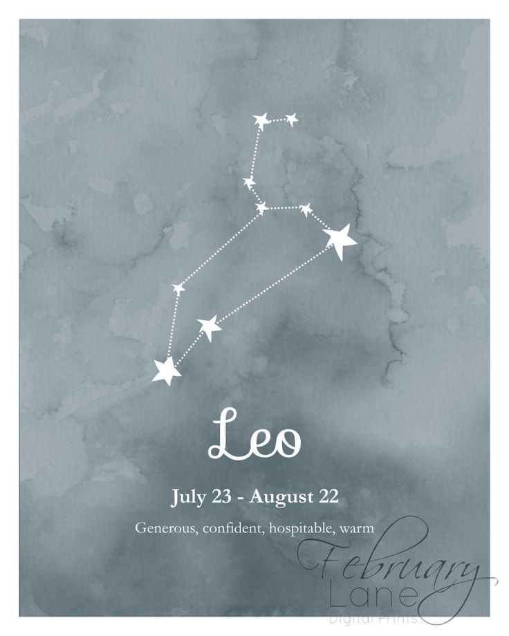 Looking for an affordable way to decorate your home or a birthday gift for a Leo? Then this is the perfect buy! THIS LISTING IS FOR A HIGH QUALITY DIGITAL IMAGE IN JPEG FORMAT. PLEASE NOTE THAT NO PHYSICAL PRINT WILL BE SENT TO YOU IN THE POST. You will receive two printables: one printable of Leo star constellation in dark blue watercolor texture background and another one with the same image with the zodiacs date and characteristics. The text on the picture says: Leo July 23 - August 22…