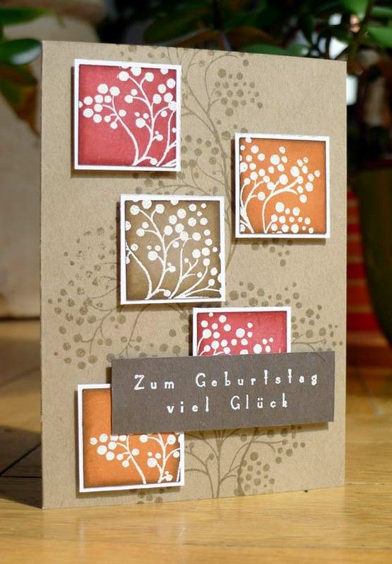 handmade card on kraft ... inchies with emboss resist leave negative space ... brown on kraft background leaves positive image ... like the look ...