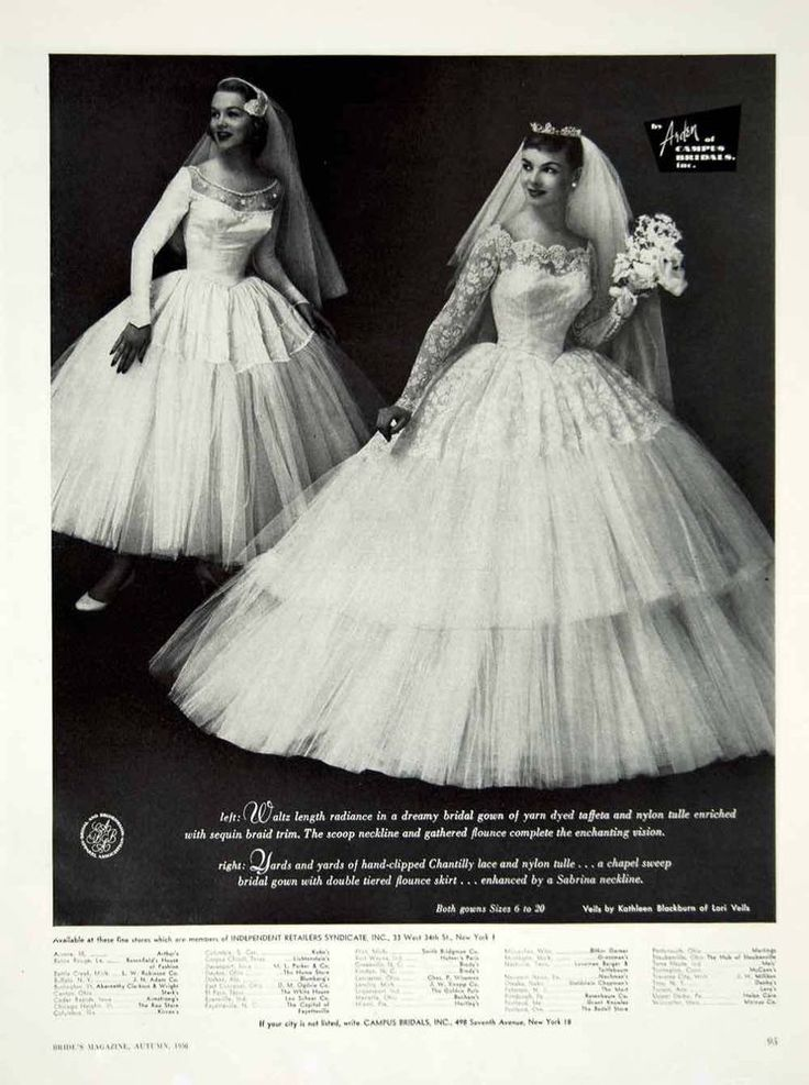 1956 Ad Vintage Wedding Gown Dress Bride Lace Veil Arden Campus Bridals Fashion