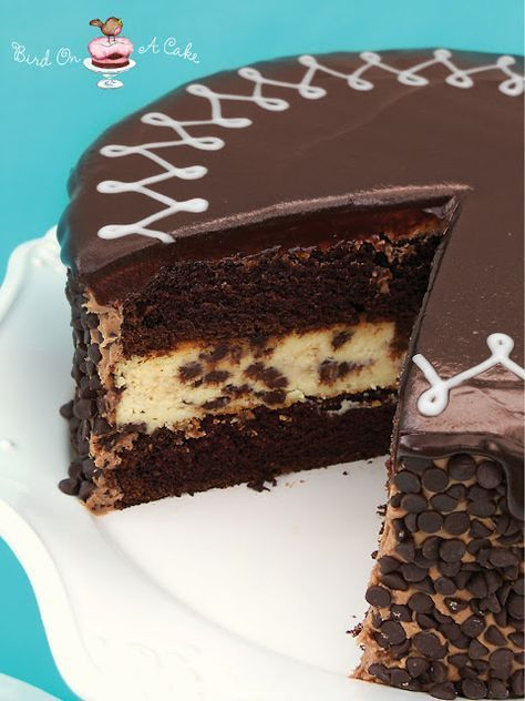 GOOD-Chocolate Chip Cheesecake Cake ***ingredients (cream cheese, granulated sugar, eggs, vanilla extract, mini semi-sweet chocolate chips, boiling water, flour, cocoa powder, baking soda, baking powder, salt, buttermilk, oil, unsalted butter, confectioners sugar, unsweetened baking chocolate, milk)