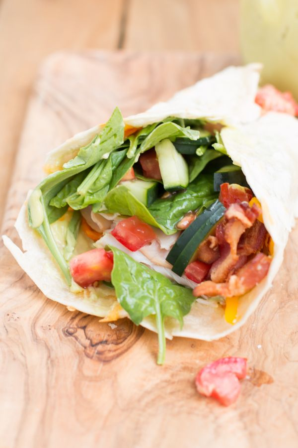 The BEST and my most favorite lunch! Turkey BLT wrap ohsweetbasil.com