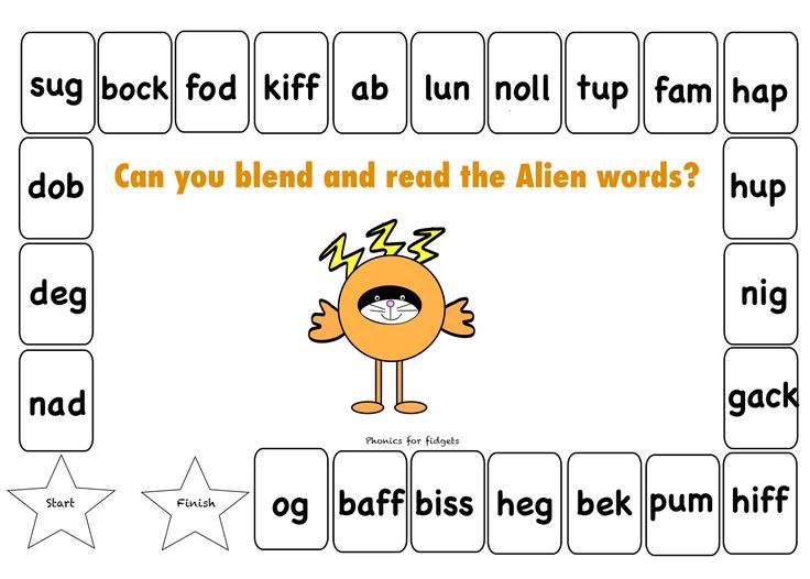 Phonics for Fidgets with Felix: Alien word board game