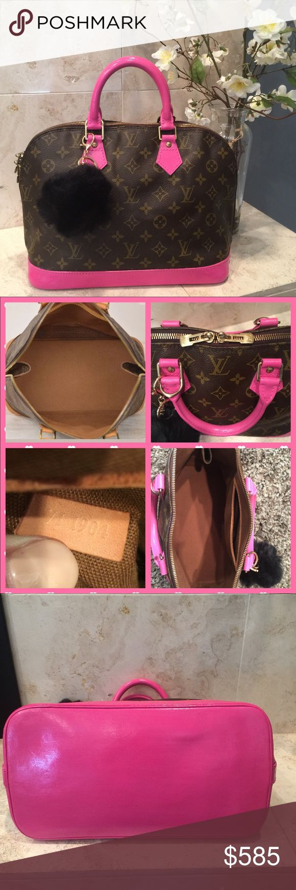 Louis Vuitton Alma Bag Authentic  This bag has pink unique handles and bottom it is in great condition.. Painted and sealed for protection.. It has Inner pocket.. Made in France.. Keychain included ..Previously Loved❤️❤️ Authentic.. Everyone needs a Louie in there lives❤️❤️ Louis Vuitton Bags