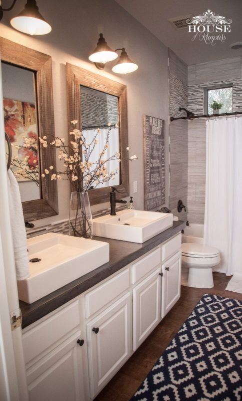 Bathroom, rustic, modern, home decor, double sinks, shower curtain, rug, white cabinet, farmhouse, two mirrors, wood framed mirror, bathroom light, diy, diy decor #afflink