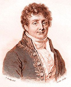 Jean Baptiste Joseph Fourier (21 March 1768 – 16 May 1830) was a French mathematician and physicist best known for initiating the investigation of Fourier series and their applications to problems of heat transfer and vibrations. The Fourier transform and Fourier's Law are also named in his honour. Fourier is also generally credited with the discovery of the greenhouse effect.