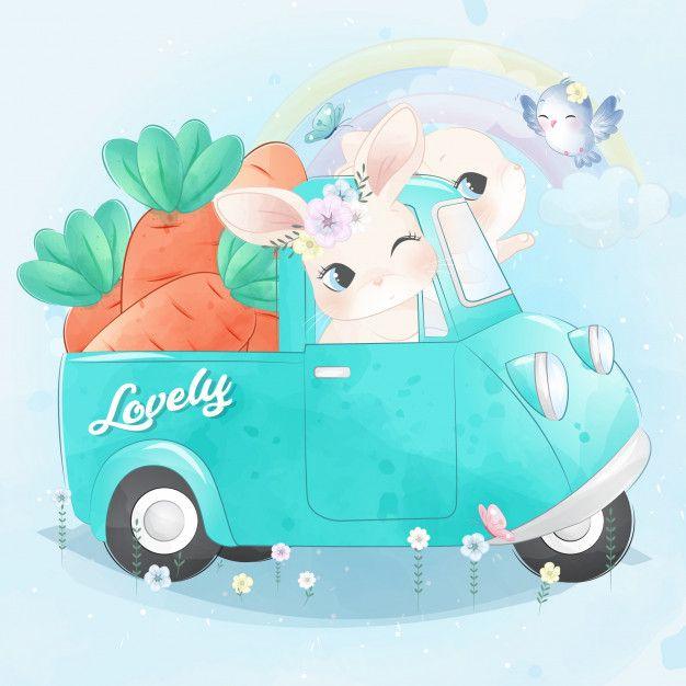 Cute Little Bunny Driving A Car Cute Animal Illustration Bunny Cartoon Clip Art