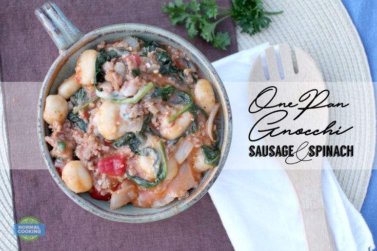 One Pan Gnocchi with Sausage and Spinach - This dish is SO GOOD! And it only took me 20 minutes and 1 pan to make it. We loved it and will be making it over and over again!
