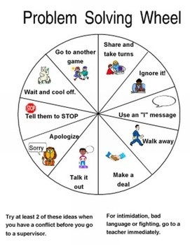 "If you buy a wooden prize wheel from a site like Oriental Trading, you can use these (or create your own) and cut them out and put them the wheel. The kids LOVE to spin the wheel and discuss the techniques and try them... it's a great way to model/practice problem-solving skills. Just watch for the kiddos who ""create"" a problem just so they can come spin your wheel!"