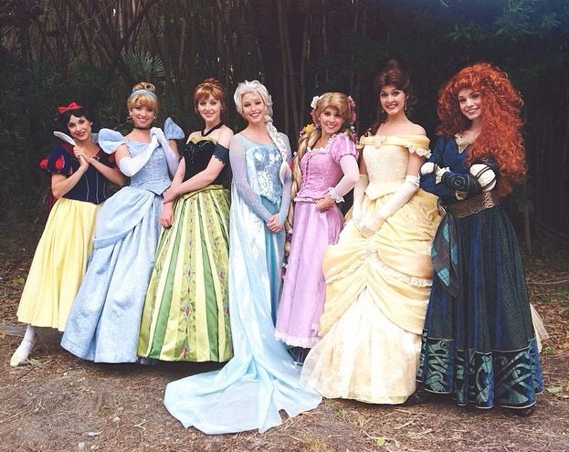 Snow White, Cinderella, Anna, Elsa, Rapunzel, Belle and Merida