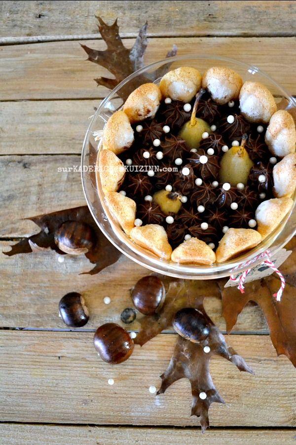 Charlotte aux poires ganache chocolat crème marron( voir la recette des poires pochées à la suite )