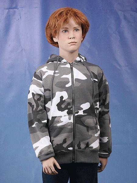 Kinder camouflage sweater met capuchon en doorlopende rits. Materiaal: polyester/katoen. City camouflage. Geschikt voor jongens en meisjes.