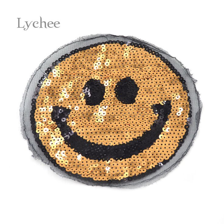 Find More Patches Information about 1 piece DIY Handmade Smiley Face Patches Bling Bling Gold Sequins Applique Sewing Patches,High Quality applique dress,China patch heat Suppliers, Cheap patch cabl from Lychee Life on Aliexpress.com