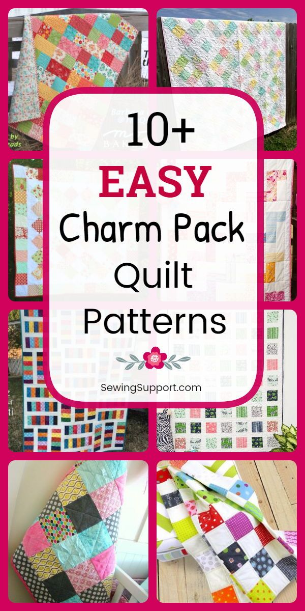 Easy quilt patterns using charm pack fabric bundles (5 inch