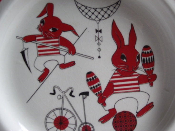 Vintage Arabia Finland Red Rabbit Plate. $32.50, via Etsy.