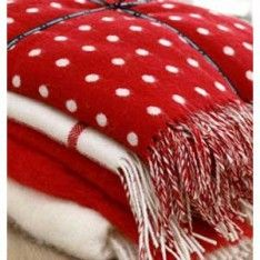 Irish Made Foxford Red Spot Lambswool Blanket