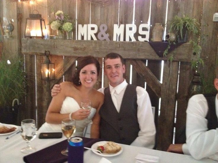 Wedding backdrop, rustic backdrop, head table, barn board, mr & mrs