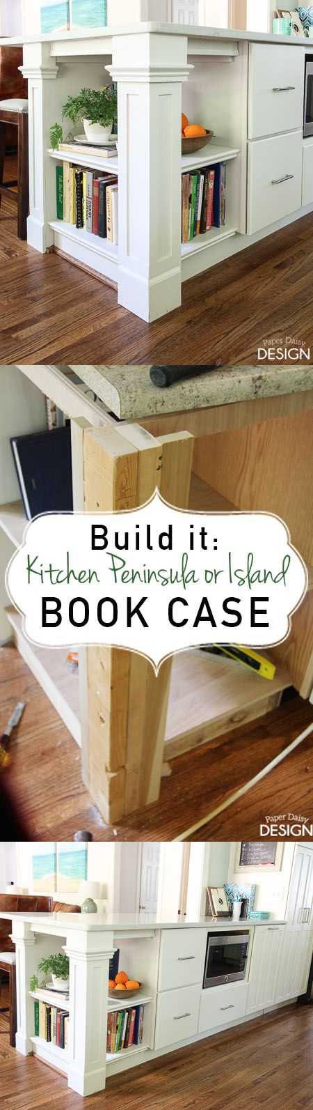 How to build a kitchen peninsula or island book case or bookshelves. Create architectural interest and storage in your kitchen.