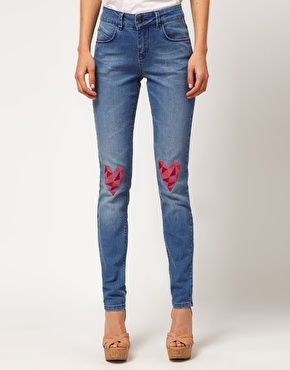 £35   Enlarge ASOS Skinny Jeans with Heart Knee Print #4Crafts Refashion, Asos Skinny, Skinny Jeans, Diy Fashion, Diy Crafts, Heart Knee, Petite Skinny, Knee Prints, Aces Petite