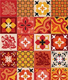 hidráulico 2 (vermelho). kit com 20 adesivos para azulejo. cobre completamente o azulejo original.. Criado por Frauke Meyer / Leo Conrado.