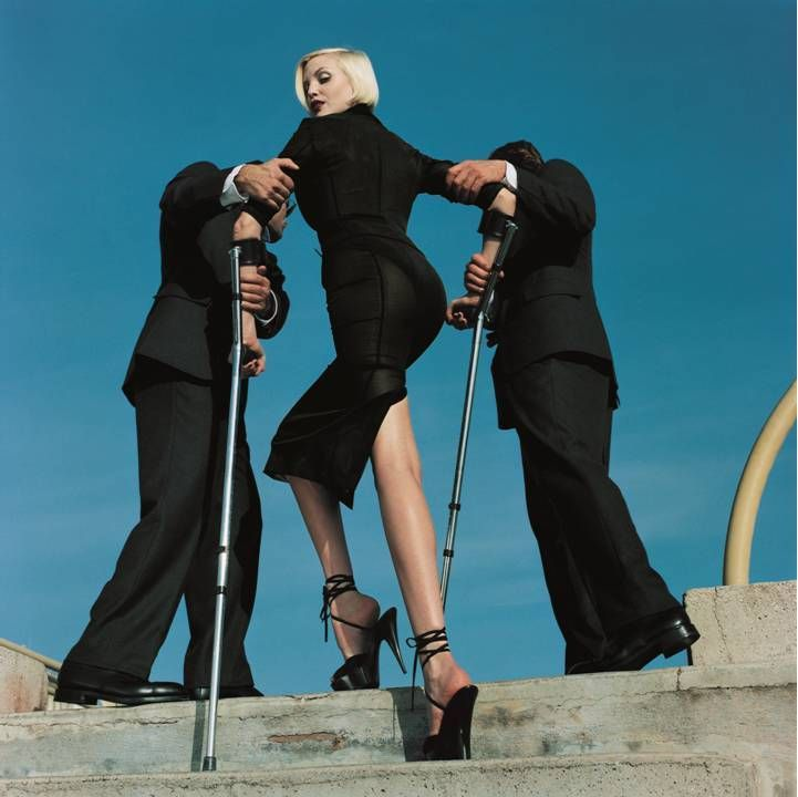 High & Mighty shoot, published in American Vogue Feb 1995: Nadja Auermann modelling Dolce & Gabbana suit, Monte Carlo, Summer 1995  © Estate of Helmut Newton / Maconochie Photography