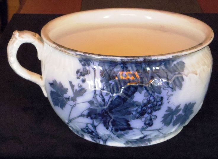 Antique Flow Blue Chamber Pot Potty Ridgways Staffordshire