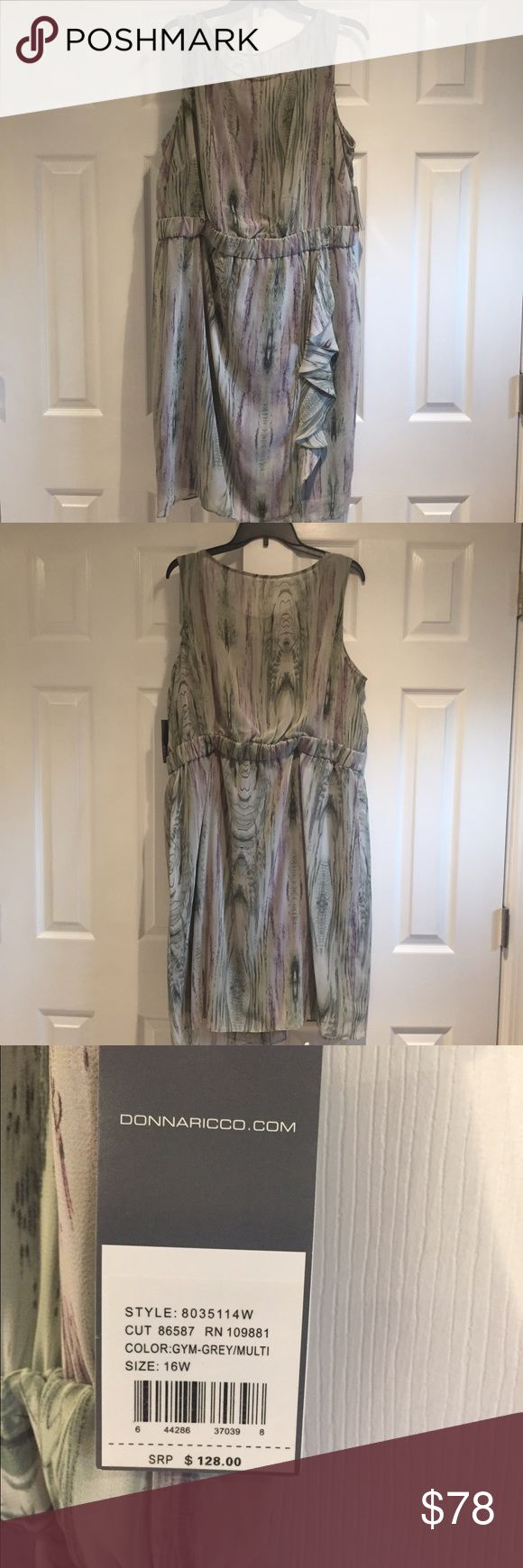 Donna Ricco dress Muted green, purple and gray patterned dress. Cinched, elastic waist with cascading front panel Donna Ricco Dresses