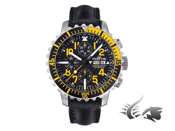 Fortis Marinemaster Chronograph Automatic Watch, ETA 7750, Black/Yellow