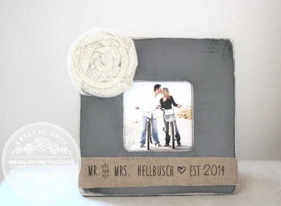 Engagement Gift Personalized Picture Frame Mr & Mrs Engagement Present Burlap Rustic Aged Frame - Crystal Cove Design Studio  Thank you for