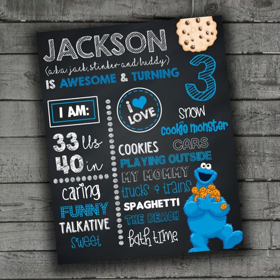 Cookie Monster Birthday Sign Chalkboard by PartyPrintableInvite