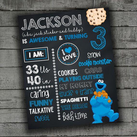 Cookie Monster Birthday Sign Chalkboard by PartyPrintableInvite
