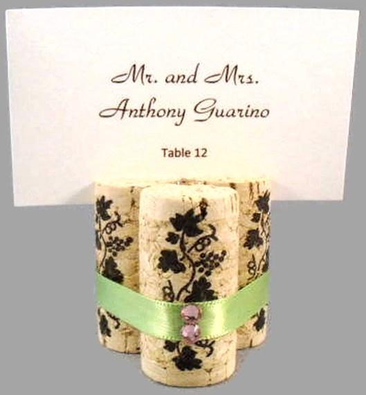 triple wine cork place card holders