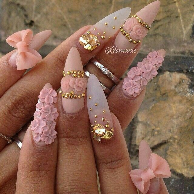 11 best nails 3d flowers images on pinterest nail scissors pink floral stiletto nails w bows prinsesfo Image collections