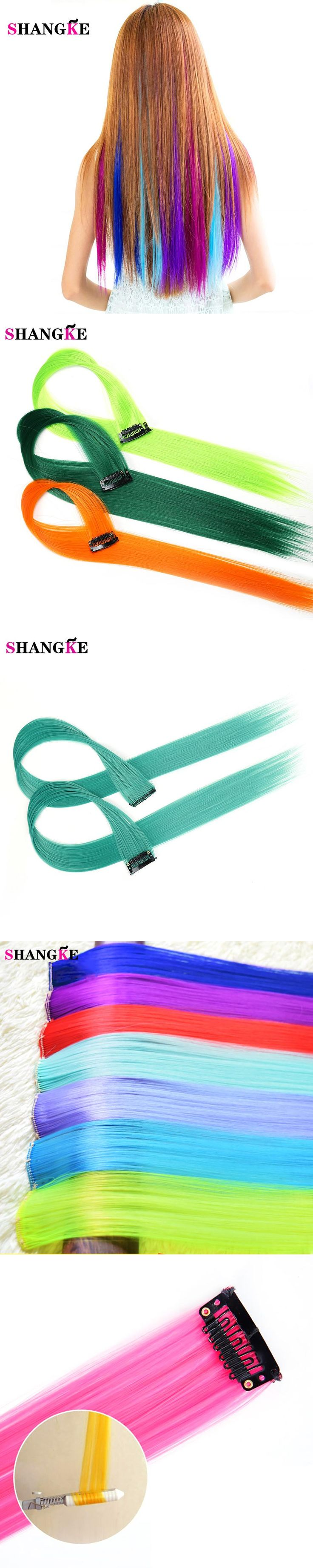 SHANGKE Clip-in Hair Extensions Pure Color Straight Long Synthetic High Temperature Fiber Red Purple Pink Blue CosplayHair Piece