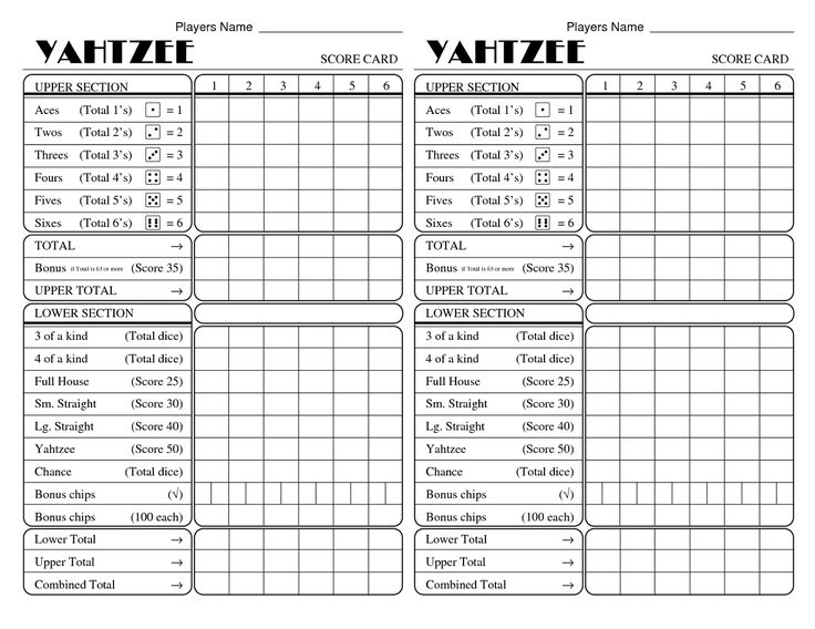 14 best yahtzee score sheets images on pinterest