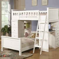 Madison White Paneled Twin Loft Bed with Desk and Drawers - Girls Room Furniture - My Pigsty