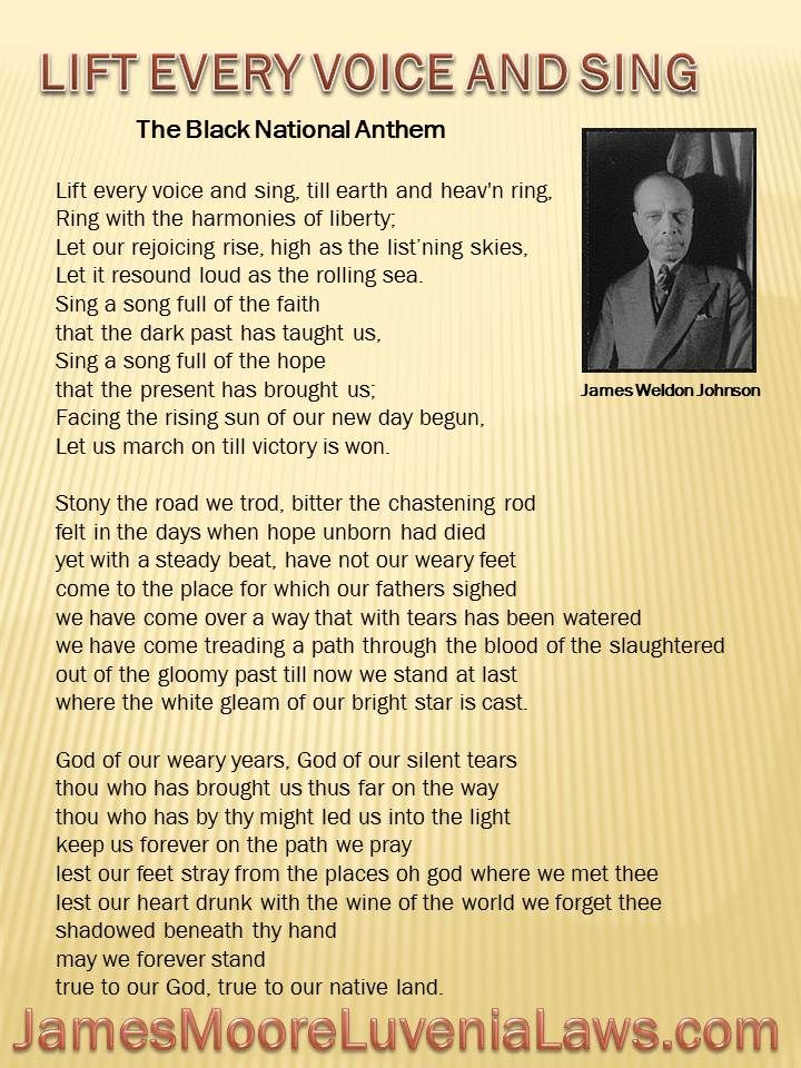 """Lift Every Voice and Sing: """"Lift Every Voice and Sing"""", known as the """"Black American National Anthem"""" was performed first as a poem as part of a celebration of Lincoln's Birthday on February 12, 1900, by 500 school children at the segregated Stanton School. Its principal, James Weldon Johnson, wrote the words to introduce its honored guest Booker T. Washington. The poem was set to music soon after by Johnson's brother John Johnson."""