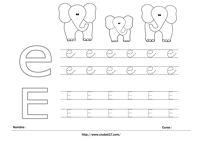 Elefante - Letra E Mayúscula y Minúscula