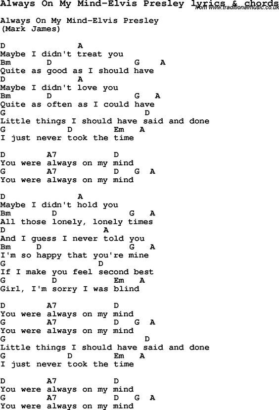 Love Song Lyrics for: Always On My Mind-Elvis Presley with chords ...