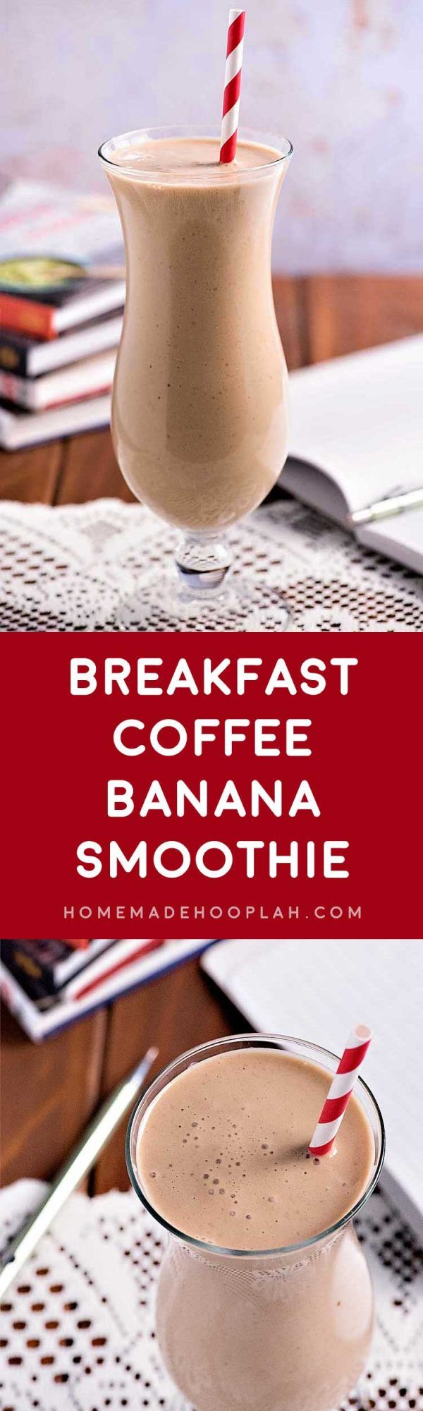 Breakfast Coffee Banana Smoothie! Kick start your morning (or your afternoon or evening!) with this easy smoothie made with bananas, yogurt, and Folgers Instant Coffee. It's the perfect indulgence whenever you need a quick pick-me-up! | HomemadeHooplah.com #recipe #tip #Folgers #ad